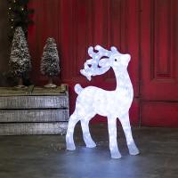Karácsonyi kültéri LED világító akril kecses rénszarvas 73 cm hideg fehér