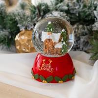 Karácsonyi szarvasos házikós zenélő hógömb világítás 13 cm
