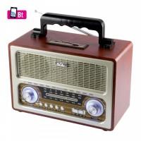 RRT 3B retro kivitelű akkus bluetooth zenelejátszó + FM rádió, memóriakártya olvasóval