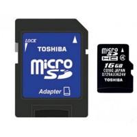 Toshiba microSDHC 16GB (class 4) memóriakártya+SD adapter