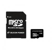 Silicon Power microSDHC 4GB (class 10) memóriakártya+SD adapter