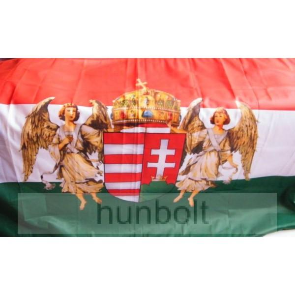 3365f27215 Nemzeti színű új címeres barna angyalos zászló 90x150 cm. A Horthy időszak  hivatalos zászlója 1919-1938-ig.