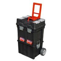 Szerszámosláda kerekes, profi erős, műanyag 495×350×712mm, fémcsatos, tálcával (Szemszámos láda)