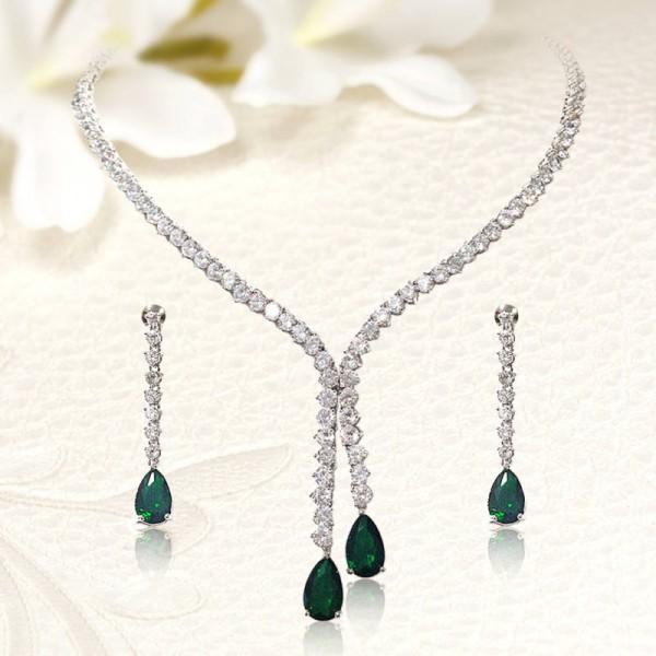 Csillogó menyasszonyi szett fehér és smaragdzöld cirkónia kristályokkal  MES-FB-B0295. Luxus színvonalú kidolgozás . 903f4dffba