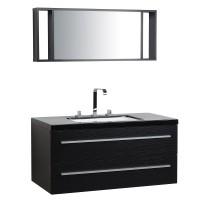 Fekete fürdőszoba bútor + mosdó + tükör - Fürdőszoba szekrény - BARCELONA