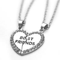 """Dupla barátság nyaklánc """"strasszos szív"""""""