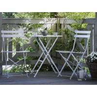 Fehér kerti bútor szett - Terasz bútor - Kerti asztal - 2 db. szék - acél - FIORI