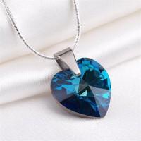 Nyaklánc, SWAROVSKI® kristállyal, kristályos szív alakú medállal, ART CRYSTELLA, Bahama kék