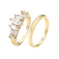 Különleges 2 részes gyűrű aranybevonattal, CZ kristályos díszítéssel #7 + AJÁNDÉK DÍSZDOBOZ (0331.)