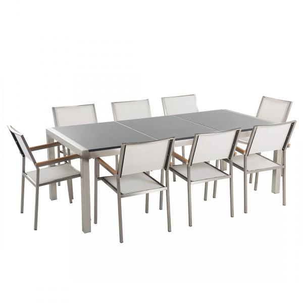 Kerti bútor szett - Polírozott szürke gránit asztallap 220 cm - 8 db. fehér textil  szék - GROSSETO 3e414d01db