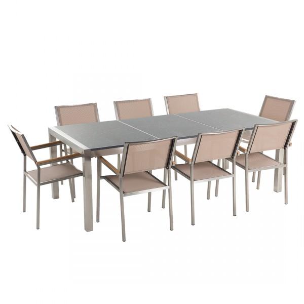 Kerti bútor szett - Polírozott szürke gránit asztallap 220 cm - 8 db. bézs textil  szék - GROSSETO c5097061d7