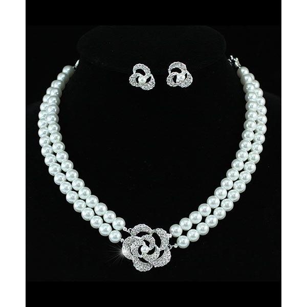 Gyöngyös-virágos esküvői alkalmi ékszerszett ezüst bevonattal 7deae409ef