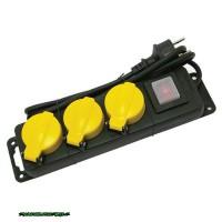 EXTOL villamos elosztó/hosszabbító, kapcsolóval, kültéri IP44, 3 aljzat, 1,5m gumi kábel, földelt, 250V/16A; max:3500W, 84845