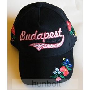 Baseball kalocsai simléderen hímzett Budapest-Hungary fekete színű sapka 1216947992