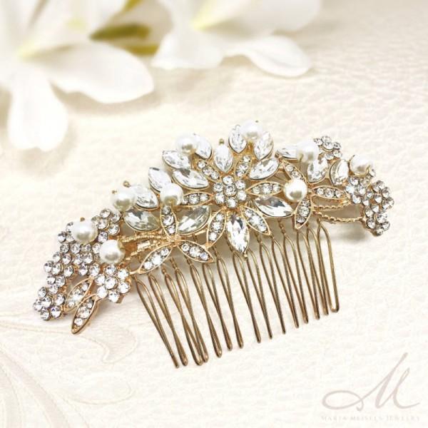 7b29961f57 Kristályokkal és gyöngyökkel díszített aranyozott menyasszonyi fésű  MET-RE-B03G
