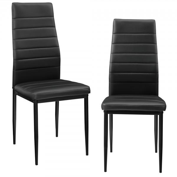 en.casa ® Étkezőszék szett párnázott műbőr szék Graz 2 darabos szett 96 x  43 cm fekete 3fcedb0061