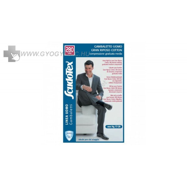 Scudotex 451 ezüstszálas kompressziós pamut férfi térdzokni 17-20 mg 1f201f38b6