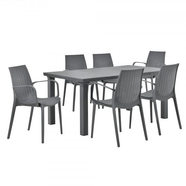 casa.pro ® Rattan hatású kihúzható kerti asztal 6 kartámlás székkel -  szürke b0fbadd29c