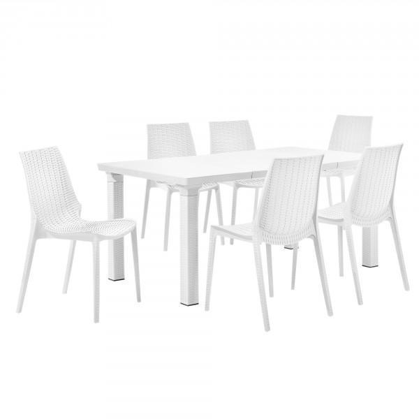 casa.pro ® Rattan hatású kihúzható kerti asztal 6 székkel - fehér 31f2f18a73
