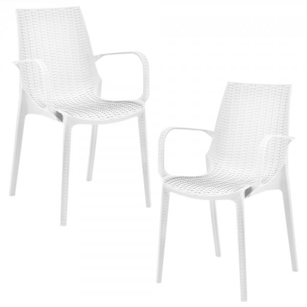 casa.pro ® 2 x rattan hatású műanyag karfás kerti szék kartámasszal 89 x  54 366dc242ff
