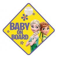 Figyelmesztető tábla BABY ON BOARD - Jégvarázs - FROZEN