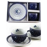 Kávés csésze szett, kék mintás (5718)