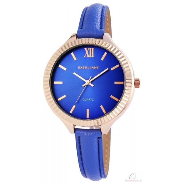 Excellanc női karóra műbőr szíjjal - Rosegold Kék f259b99366