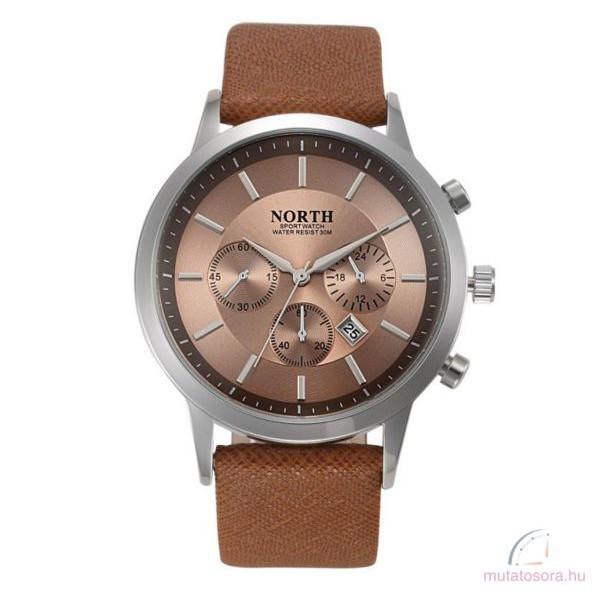 North luxus férfi bőr szíjas karóra - barna 68e40481ab