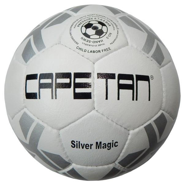 542bb2b3b7 Bőr futball labda Capetan Silver Magic No.5, ezüst-fehér szabvány méretű  klasszikus focilabda