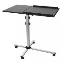 Techly univerzális projektor/notebook mobil állvány, 2 állítható polc, fekete (101485) notebook tartó-hűtő