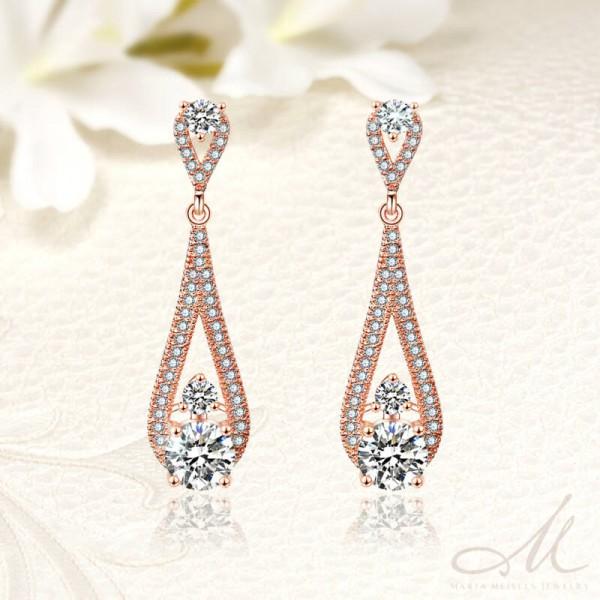 08aa77a072 Elegáns, csepp alakú, rozé arannyal bevont menyasszony fülbevaló kristályokkal  díszítve MEF-FL-B2052RG