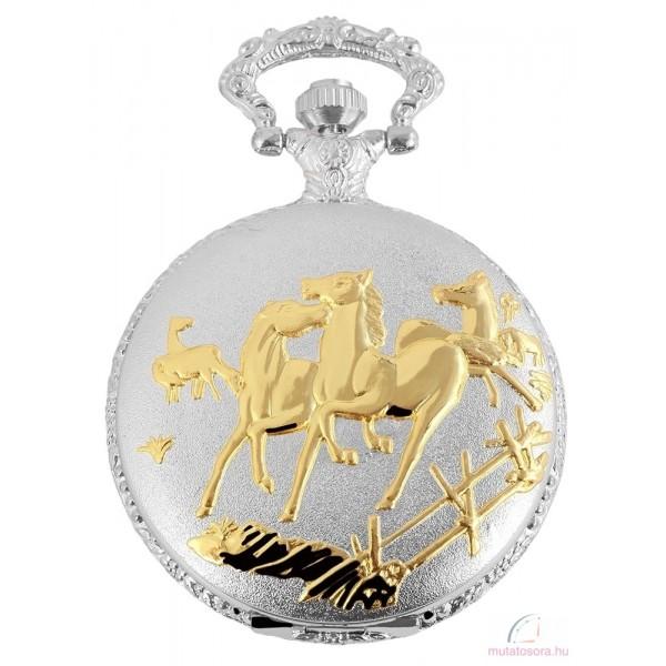 Fame ezüst színű zsebóra lovas díszítéssel 9b0b6f0c37