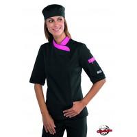 Fekete-pink NŐI rövidujjú szakácskabát