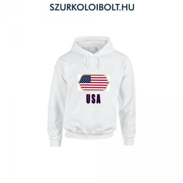 USA feliratos kapucnis pulóver (fehér) - USA válogatott pulcsi 8f86549f29