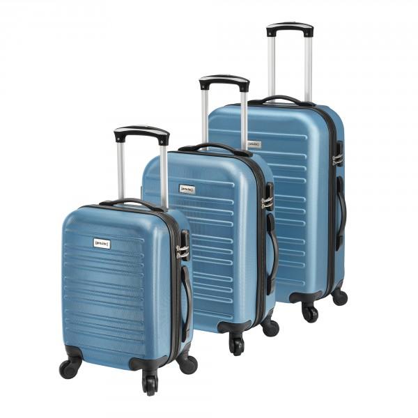 e61c467ac359 [pro.tec]® Koffer gurulós bőrönd szett 3 különböző méretű poggyász  kézipoggyász sötétszürke kék