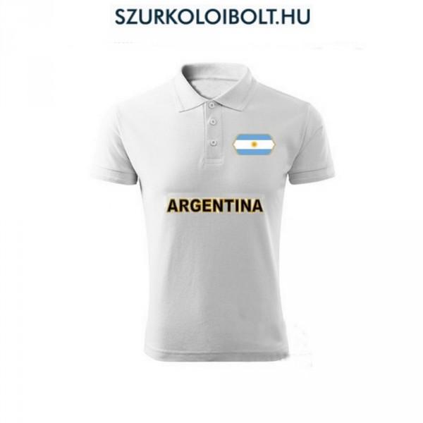 Argentina póló - szurkolói ingnyakú   galléros póló (fehér) 5472c72230