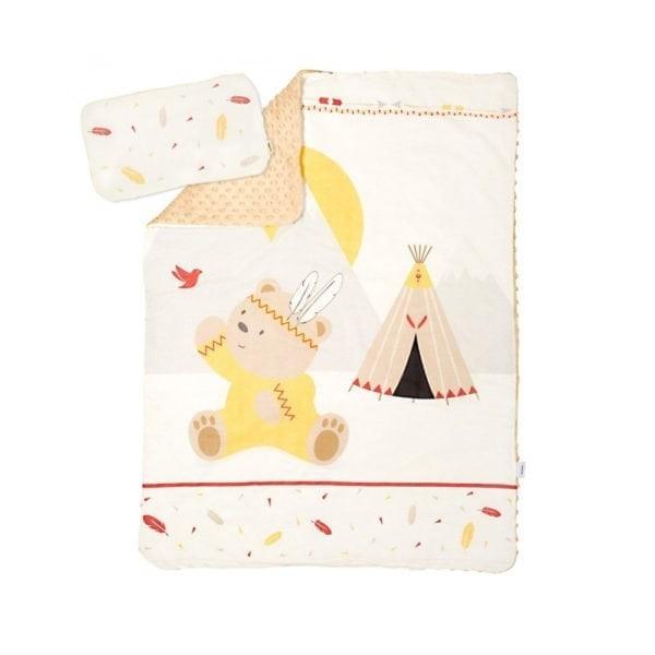 Albero Mio dupla rétegű takaró + párna - K073 Indian Boy   Indián macifiú 28fb1d70d4