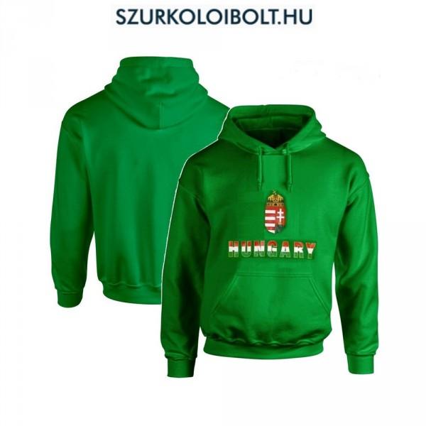 Hungary vagy Magyarország feliratos kapucnis pulóver (Zöld 86f5c406b2