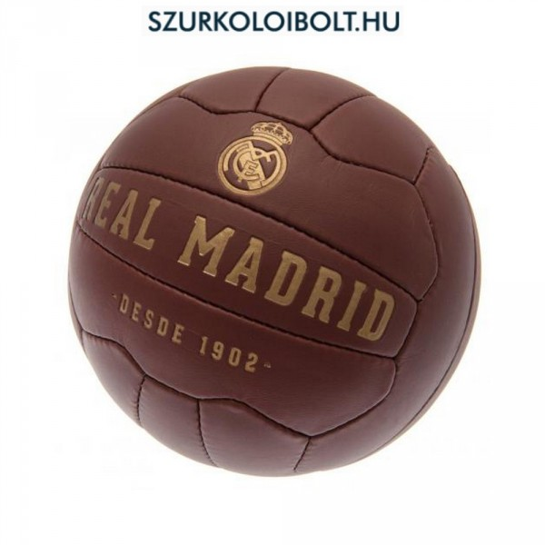 Real Madrid labda - normál (5-ös méretű) Real Madrid címeres szurkolói  retro bőr focilabda 1385096720