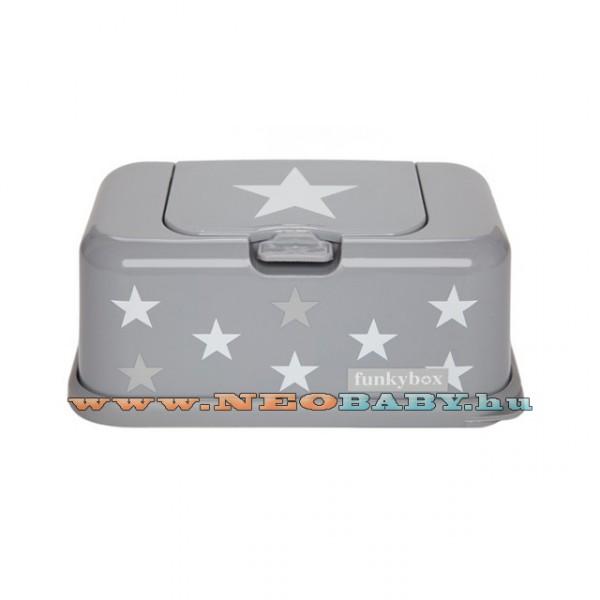 Funkybox törlőkendő tároló doboz fb15 világosszürke fehér csillagos 1ff6114e06