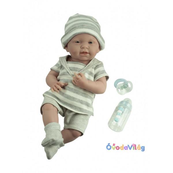 Berenguer Élethű játékbaba újszülött fiú csíkos ruhában 38 cm 72d92a4cb3