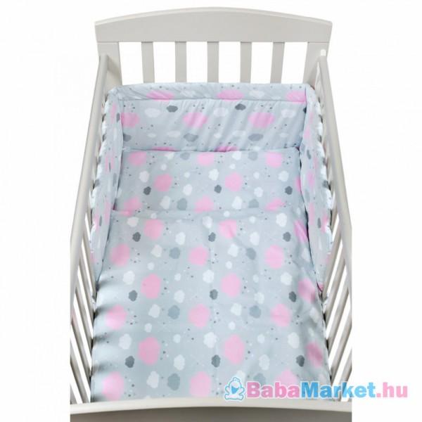 3 részes baba ágyneműhuzat - New Baby 90 120 cm felhőcske rózsaszín 53fae0f6ba