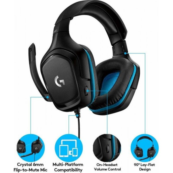 Logitech G432 Gaming Headset 7.1 (981-000770) 55095b0545