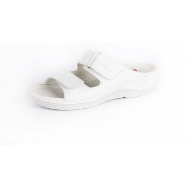 San Crispino SCN10 Minőségi bőr női papucs fehér (gyógypapucs) -állítható  két vastag tépőzáras pánttal 36 857fe47e80