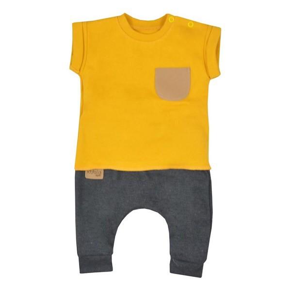 3828b1c902 KOALA   Koala Summer Boy   Baba szabadidő nadrág és póló Koala Summer Boy  szürke - mustár szín   Sárga   68 (4-6 h)
