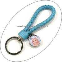 Egyedi, fényképes kulcstartó (fonott bőr) kék
