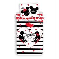 Mickey és Minnie Fekete-fehér csíkos Hello ágyneműhuzat 140 x 200 cm