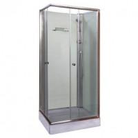 Polo White II szögletes fehér hátfalas zuhanykabin, akril zuhanytálcával, 80x80x195 cm-es méretben