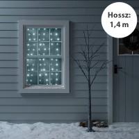 Karácsonyi fényfüggöny ablakba 1,4 m hosszú – Hideg fehér – 0,6 m